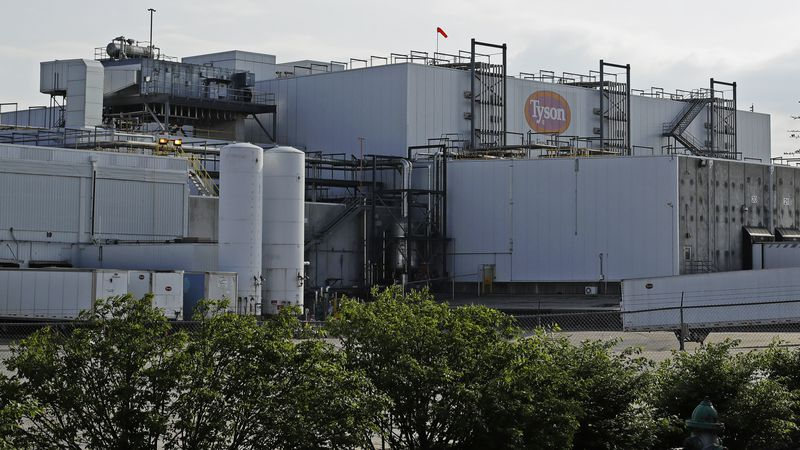 FILE - In this April 27, 2020, file photo, a Tyson Fresh Meats plant in Emporia, Kan. Federal...