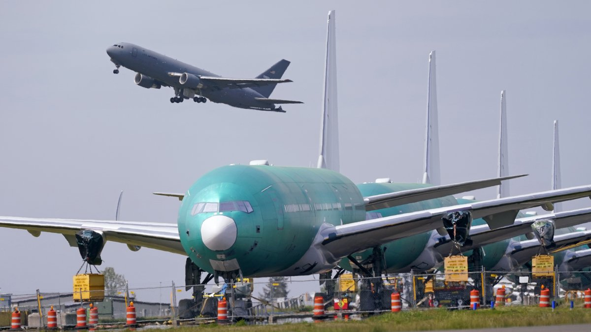 FILE - In this April 23, 2021 file photo, a U.S. Air Force KC-46A Pegasus jet takes off in view...