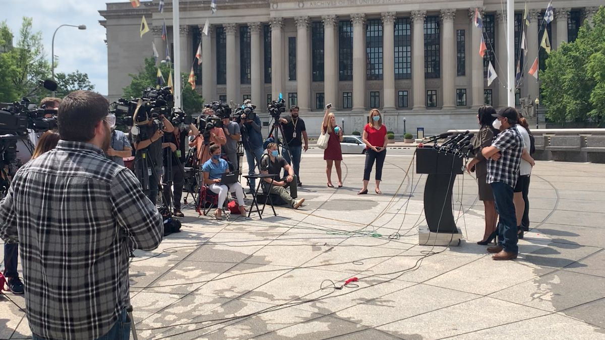 Vanessa Guillen's family and attorney speak to the media in Washington. (Source: Gray DC)