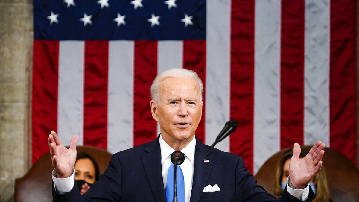 President Joe Biden addresses a joint session of Congress, Wednesday, April 28, 2021, in the...