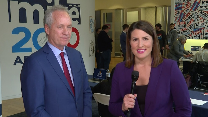 Louisville Mayor rallies for Mike Bloomberg's presidential campaign at his headquarters.