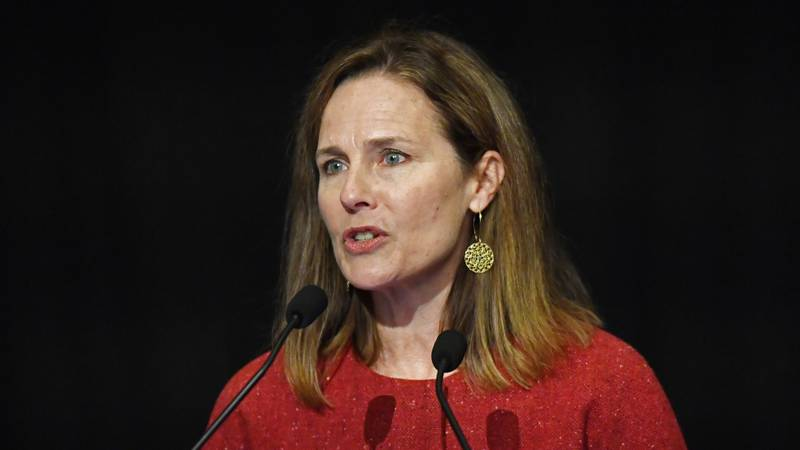 U.S. Supreme Court Justice Amy Coney Barrett speaks to an audience at the 30th anniversary of...