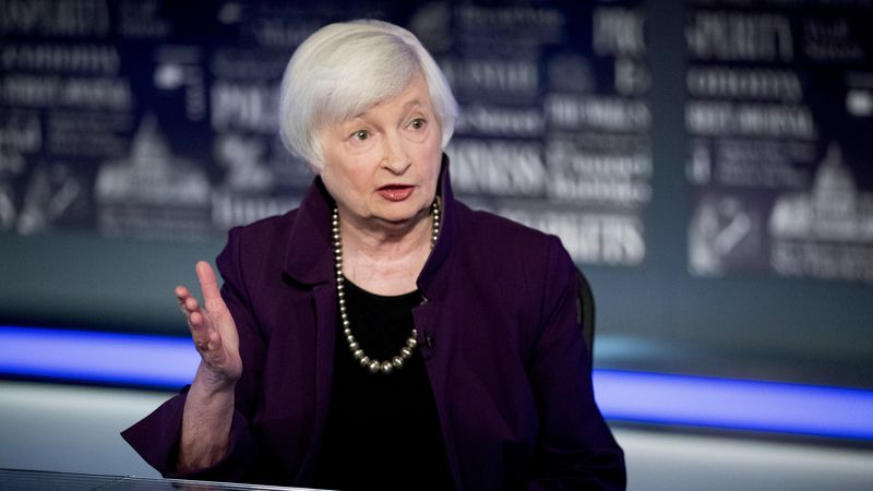 FILE - In this Aug. 14, 2019, file photo former Fed Chair Janet Yellen speaks with FOX Business...