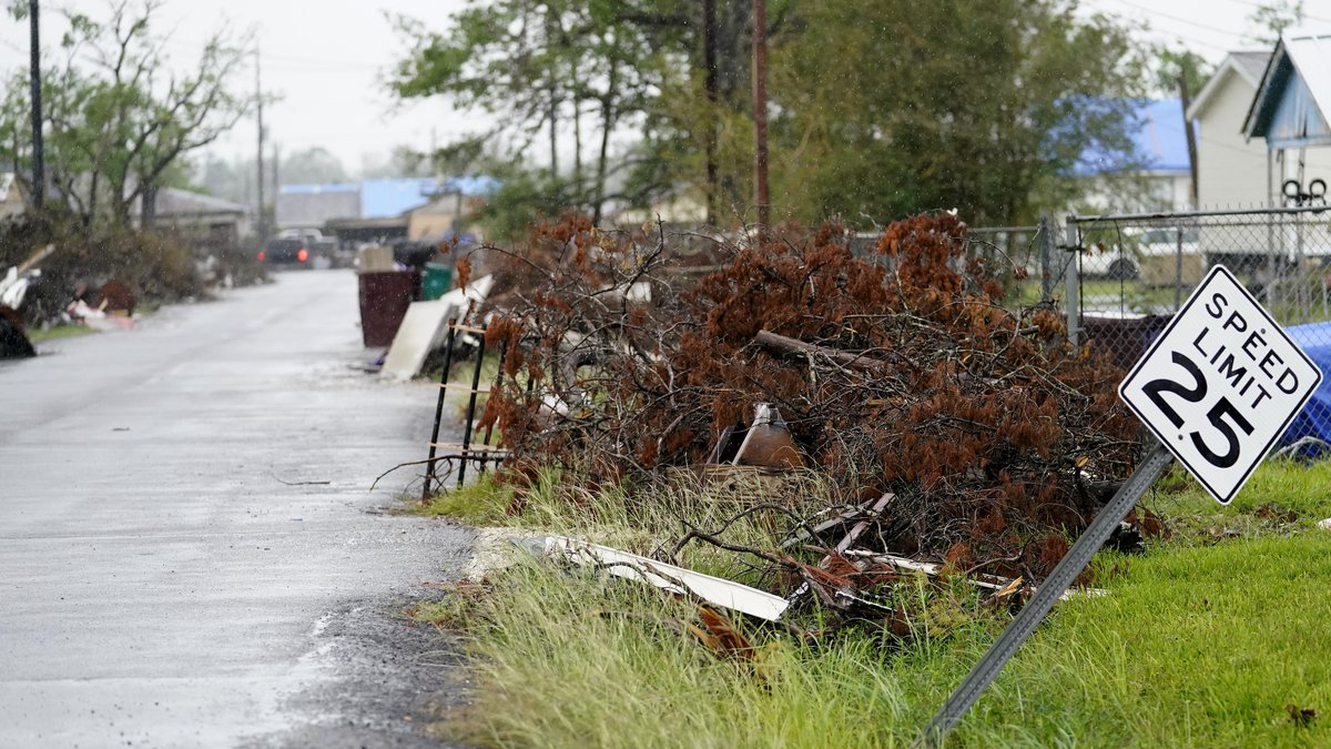 A neighbored that was hit by Hurricane Laura is seen ahead of Hurricane Delta, Friday, Oct. 9,...