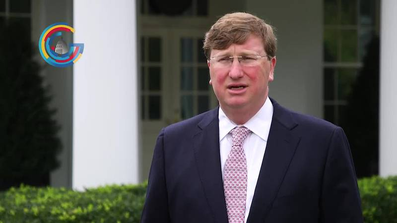 Governor Tate Reeves (R-MS) reacts to the White House's announcement of the deployment of rapid...