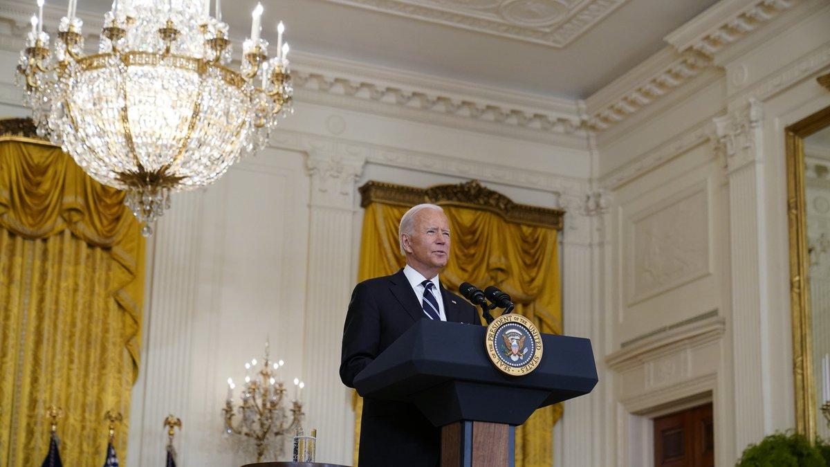 President Joe Biden speaks from the East Room of the White House in Washington, Wednesday, Aug...