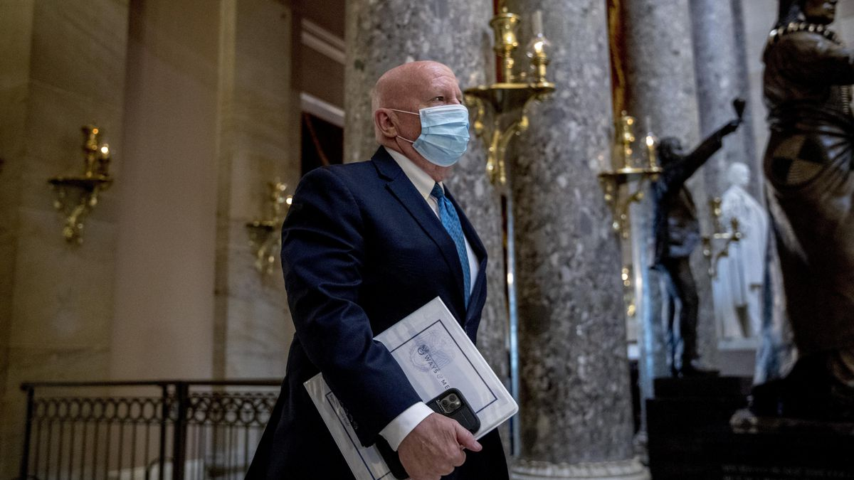 Rep. Kevin Brady, R-Texas, walks out of the House Chamber on Capitol Hill, Thursday, April 23,...