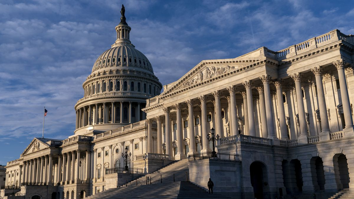 The Senate side of the U.S. Capitol is seen on the morning of Election Day, Tuesday, Nov. 3,...
