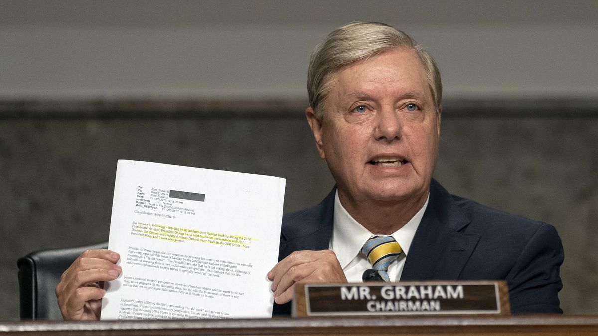Senate Judiciary Committee chairman Sen. Lindsey Graham, R-S.C., speaks during a Senate Judiciary Committee oversight hearing on Capitol Hill in Washington, Wednesday, Aug. 5, 2020, to examine the Crossfire Hurricane investigation.