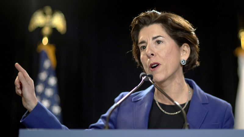 In this Feb. 5, 2020, file photo, Rhode Island Gov. Gina Raimondo speaks at an event in...
