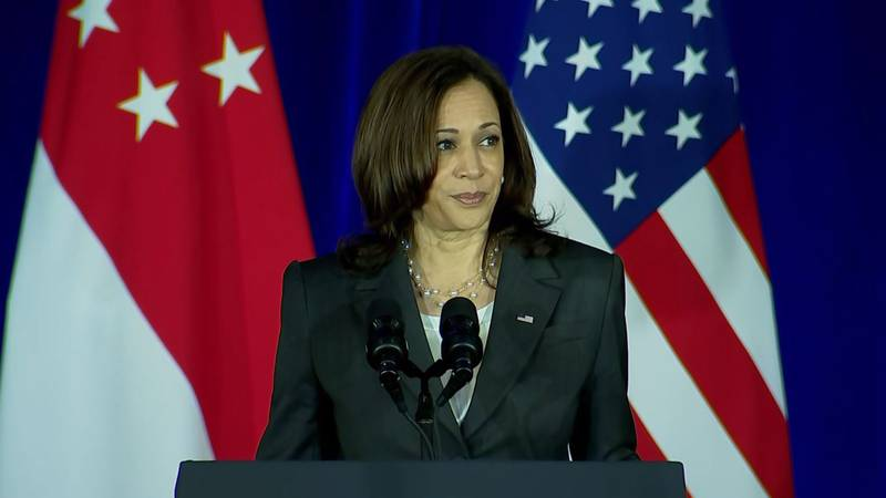 """Vice President Kamala Harris' flight from Singapore to Vietnam was delayed by a """"recent..."""