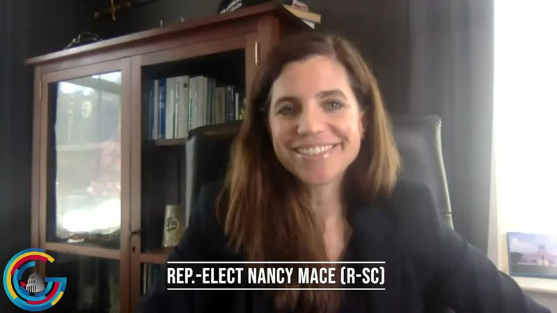 Rep.-elect Nancy Mace does an interview after her historic upset victory in South Carolina as...