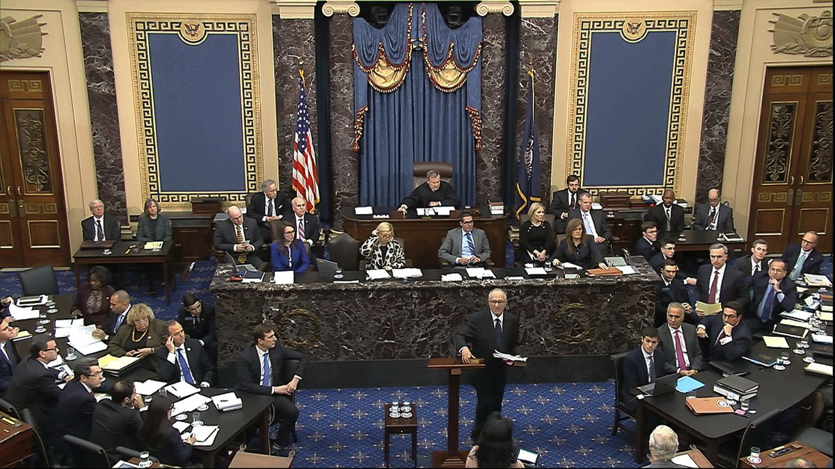 In this image from video, Alan Dershowitz, an attorney for President Donald Trump, walks from the podium after speaks during the impeachment trial against Trump in the Senate at the U.S. Capitol in Washington, Monday, Jan. 27, 2020. (Senate Television via AP)