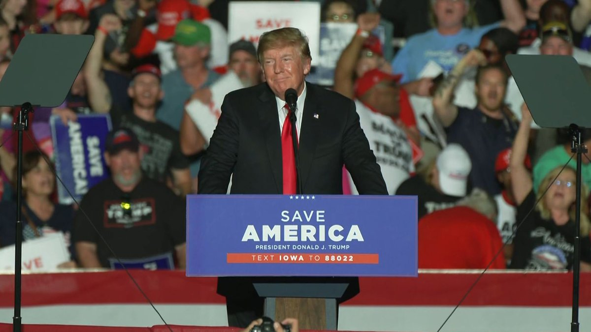 Former President Donald Trump held a rally in Des Moines, Iowa, on Saturday, Oct. 9, 2021.