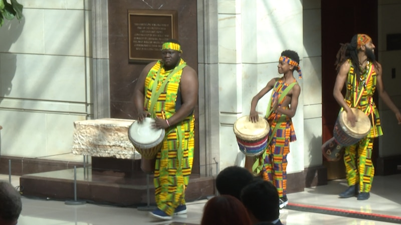 Hundreds gathered for a commemoration of the first-recorded forced arrival of enslaved African...