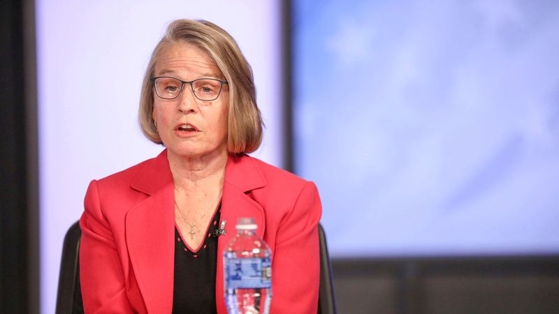 FILE - In this Oct. 8, 2020, file photo, Mariannette Miller-Meeks answers a question during a...