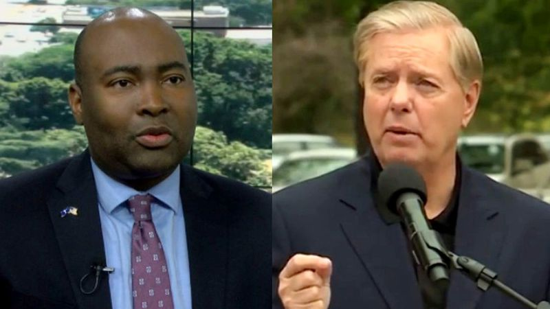 From left: Jaime Harrison and Lindsey Graham