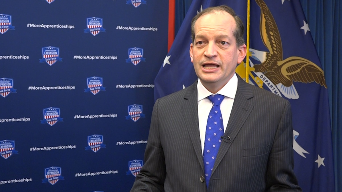 Secretary Alexander Acosta says apprenticeship programs have to be fostered at the local level,...
