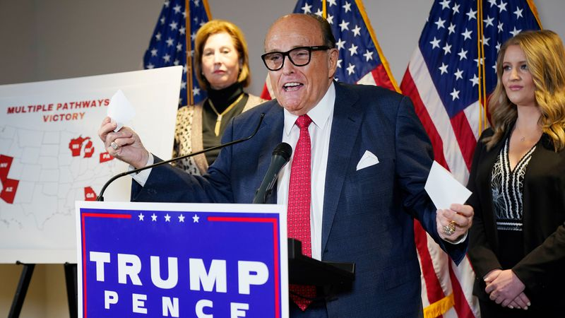 FILE - In this Nov. 19, 2020, file photo, former Mayor of New York Rudy Giuliani, a lawyer for...